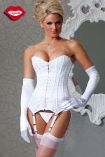 Corset White Delice - Corset en satin blanc recouvert d'un voile de dentelle, icône de féminité pour une parure virginale.