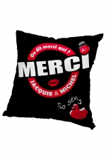 Housse de coussin 60x60 J et M - noir - Housse de coussin 60 x 60 cm, coloris noir et rouge, par Jacquie et Michel.