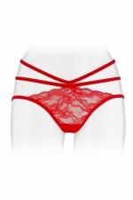 Culotte ouverte  Nadia - rouge - Culotte coquine rouge, en dentelle et ornements, offrant largement la vue sur les fesses, par Fashion Secret.