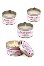 Bougie de massage gourmande - Easy Love - Bougie de massage sensuelle parfumée au choix au Coco, au chocolat,à la fraise ou à la vanille.