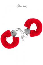 Menottes de poignets rouge - Paire de menottes Glamour en métal, recouvertes d'une fourrure rouge, par Sweet Caress.